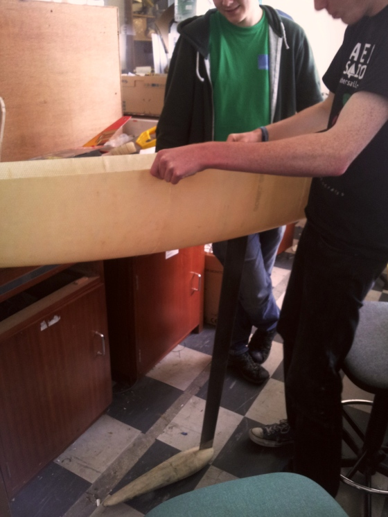 Checking the keel fitting.