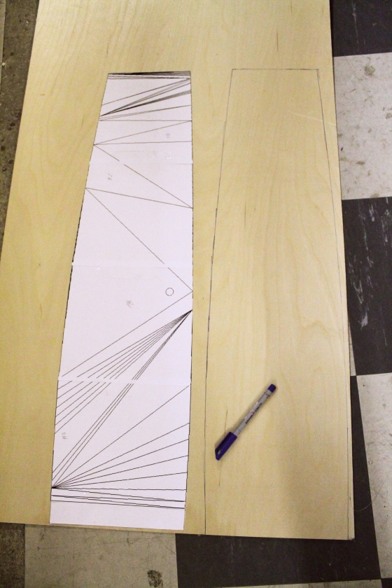 We then printed this template onto paper and traced it onto plywood.