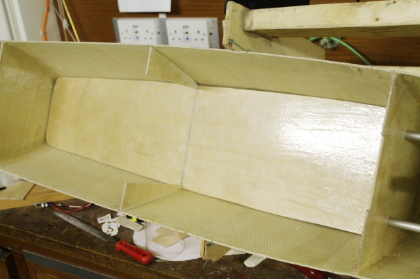 Then the electronics deck and middle rib were fit into the hull.
